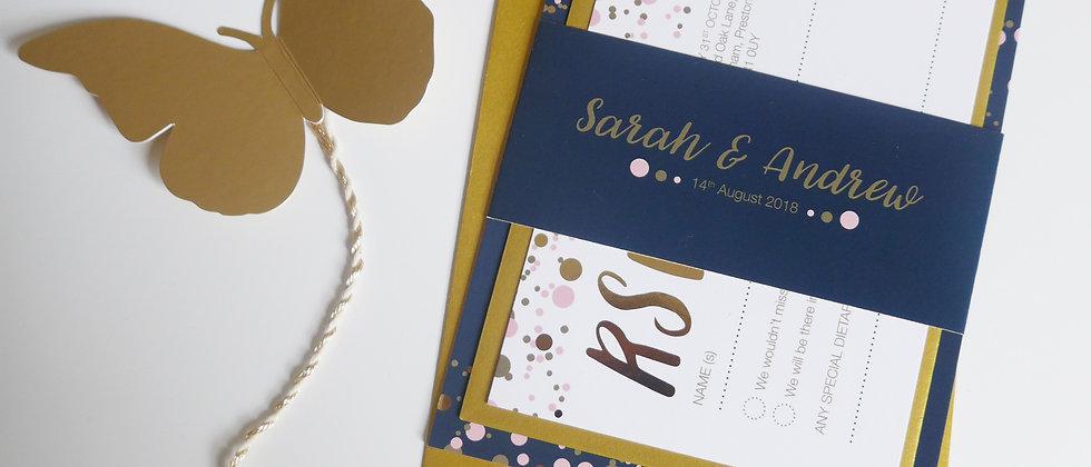 Gold foil confetti wedding invitation