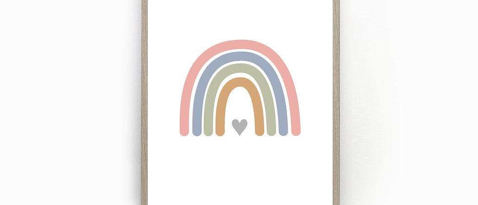 Rainbow Print, Nursery Rainbow Art, Rainbow Wall Prints, Nursery Prints, Home Prints, Heart, Customisable Colours