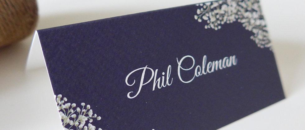 Rustic Wedding Place Card, Tentfold, Gypsophila, Floral, Navy