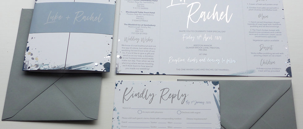 Blue gatefold wedding invitation with silver foil