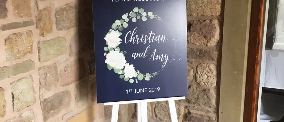 Rustic Wedding Welcome Sign, Navy, Personalised, Mounted, Roses, Floral
