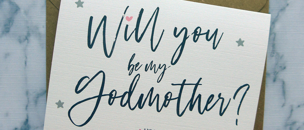 Personalised Will you be my Godmother/Godfather/Godparents Christening Card, Baptism Card, Godparent Proposal Card