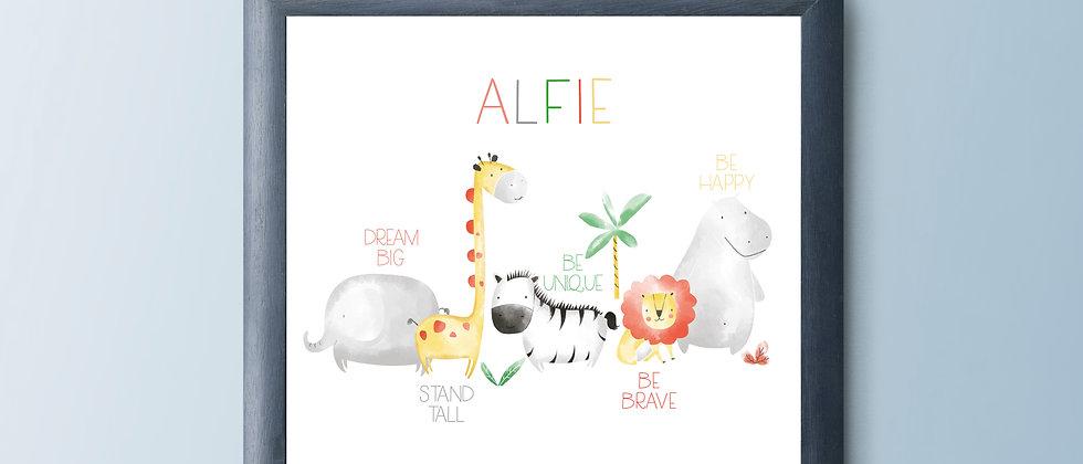 Personalised Safari Nursery Print