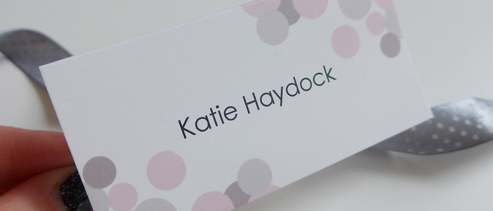 Modern Wedding Place Card, Tentfold, Pink and Grey, Confetti