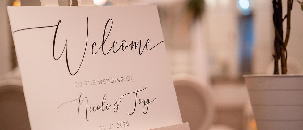 Modern Wedding Welcome Sign, Monochrome Wedding Sign, Neutral Wedding Sign, Contemporary Welcome Sign, Simple Wedding Welcome
