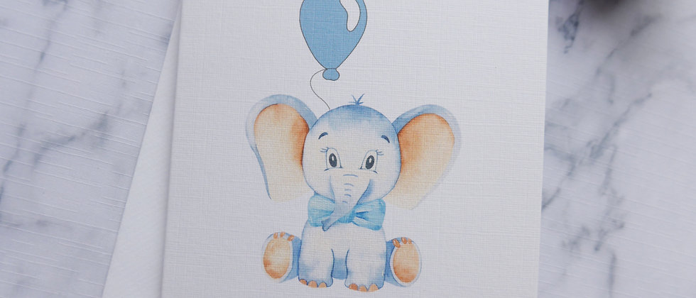 Baby boy personalised card, Personalized baby boy card, Custom baby card, Elephant baby boy card, Cute new baby boy card