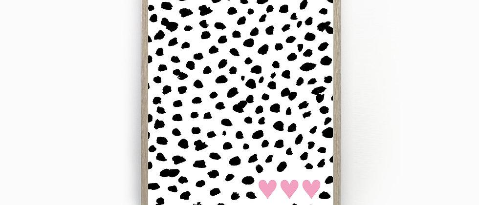 Dalmatian Print, Heart Print, Heart Poster, Wall Art, Home Decor, Wall Print, Home Print, Kid's Print, Nursery Print,
