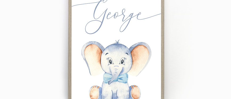 Personalised Elephant Nursery Print