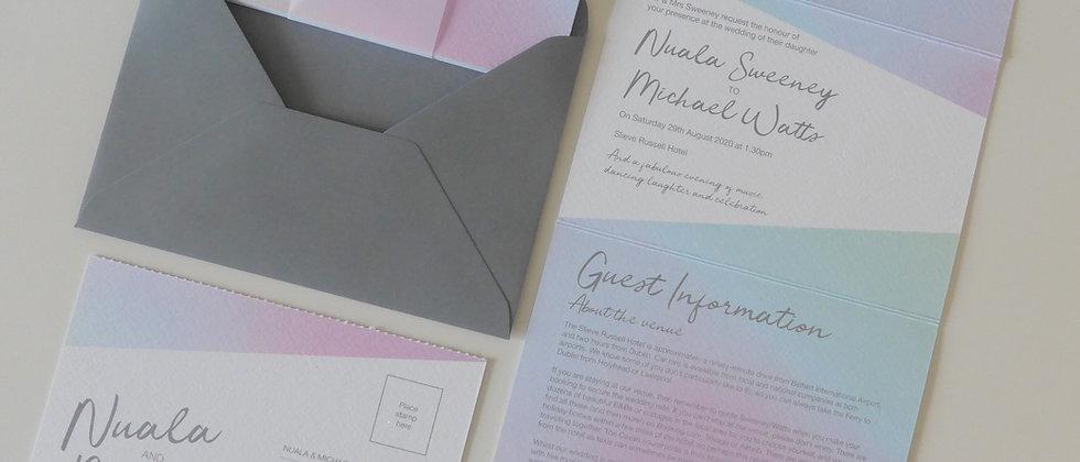 Pastel Concertina Wedding Invitation