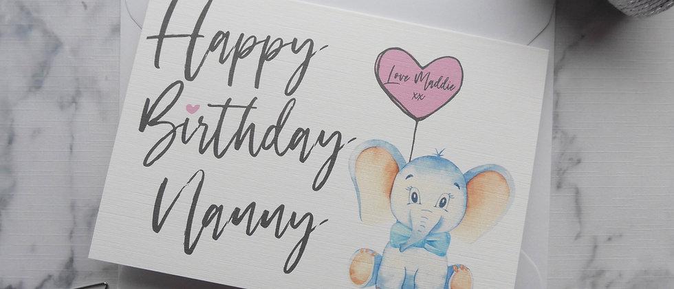 Personalised Nanny, Grandma, Nan, Nana Birthday Card, Cute Elephant Nanny Birthday Card, Happy Birthday Nanny Card