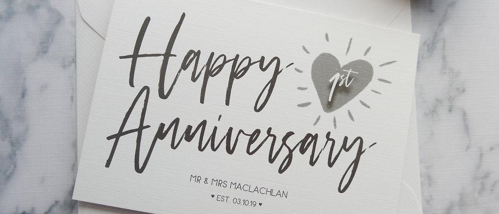 Personalised Anniversary Card, 1st Wedding Anniversary Card, Custom Anniversary, Couples Anniversary, Paper Anniversary