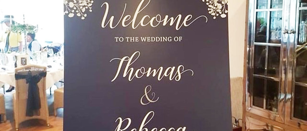 Rustic Wedding Welcome Sign, Navy, Personalised, Mounted, Gypsophila, Floral