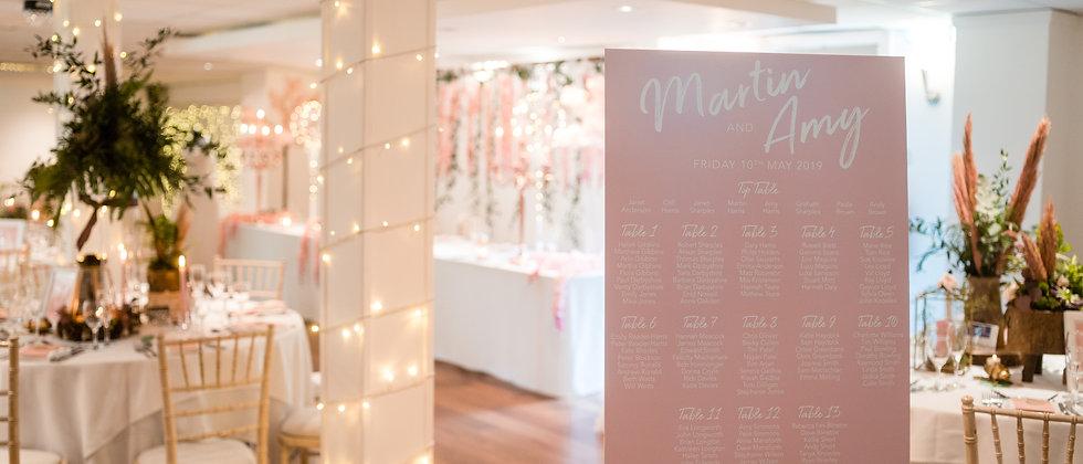Modern Wedding Table Plan, Table Plan, Stylish, Sleek, Personalised, Mounted, Peach, White