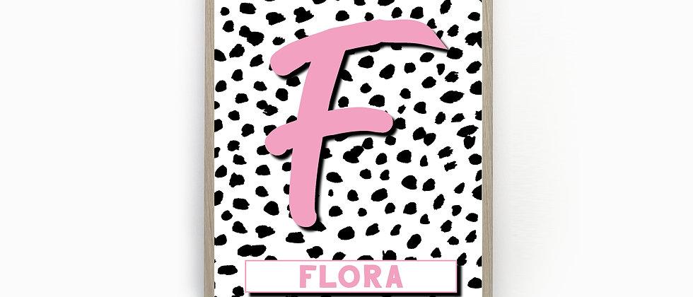 Personalised Name Print, Dalmatian Initial Print, Nursery Print, Teen Girl Print, Monogram letter Print, Letter Wall Art