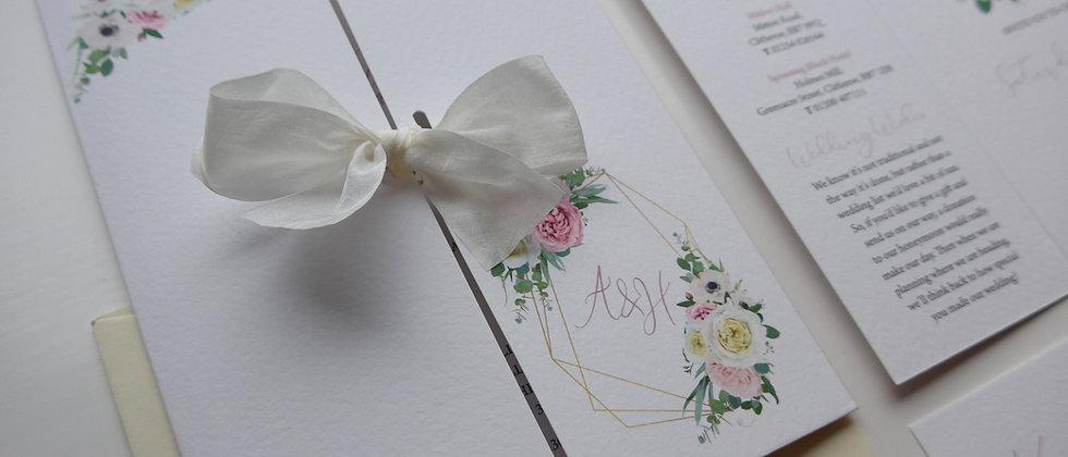 Floral geometric wedding invitation