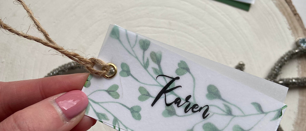 Vellum double layer place cards