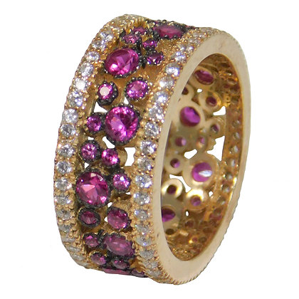 Lab Created Amethyst and CZ Eternity Ring