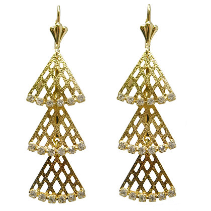 3 Tier Gold Fan Earrings