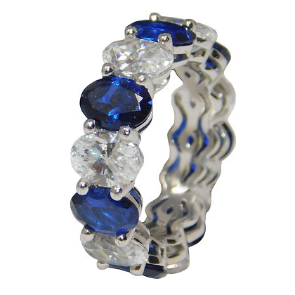 Oval White & Blue Lab Sapphire Ring