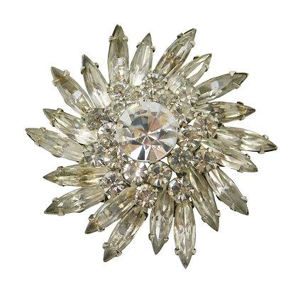 Crystal Sunflower Burst Brooch