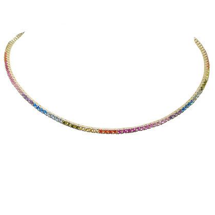 Rainbow Lab Sapphire Choker Necklace