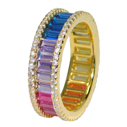 Rainbow Cubic Zirconia Eternity Ring