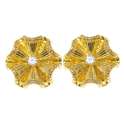 Gold Fluted CZ Petal Clip on Earring