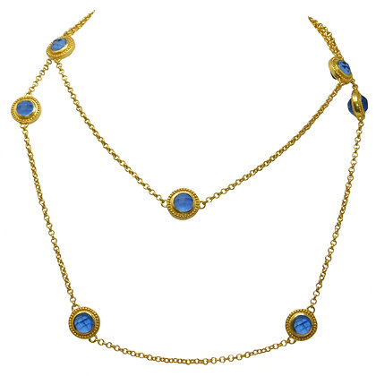 Loire Chalcedony Blue Station Necklace