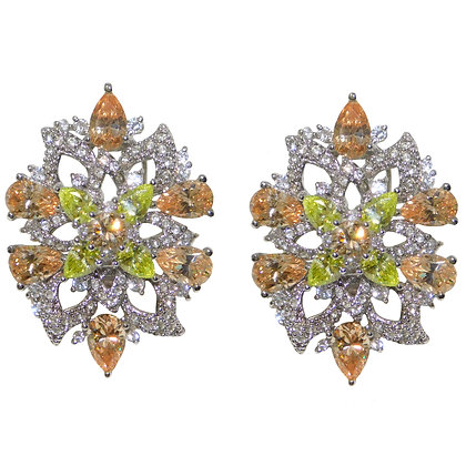 Kaleidoscope Rhodium Clip on Earring