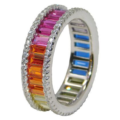 Rainbow Cubic Zirconia EternityBand