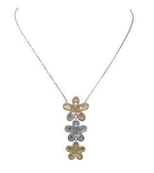 Triple Posy Drop Necklace
