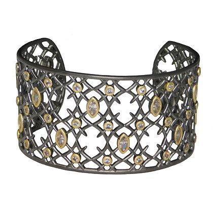 Two Tone Rococo Filigree Cuff Bracelet