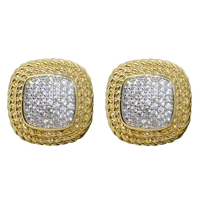 Roped Pave CZ Button Stud Earring