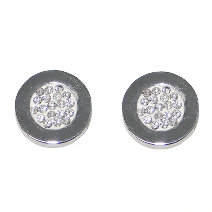 Stainless Steel CZ Pave Stud Earrings