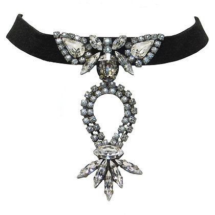 Black Suede and Crystal Choker Necklace