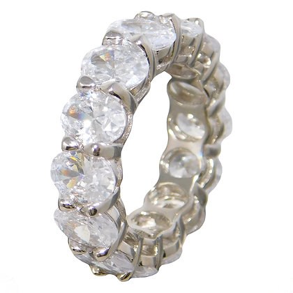 Oval White Sapphire Eternity Band