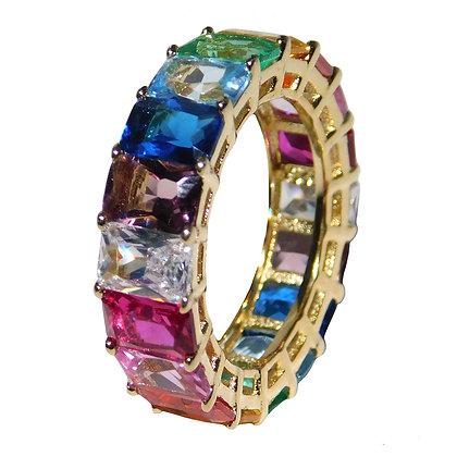Emerald Cut Rainbow Cubic Zirconia EternityBand