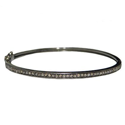 Gunmetal Stackable CZ Thin Bangle Bracelet