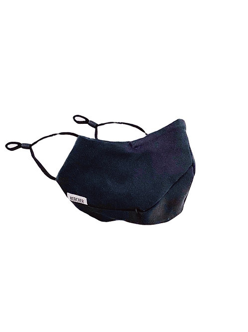 Cotton & Silk Three Seam Mask | Black