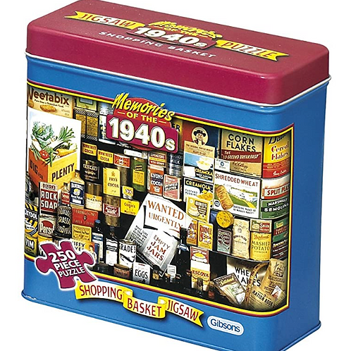 1940s Shopping Basket Jigsaw Puzzle In A Tin