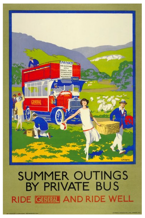 Summer Outings Vintage Poster