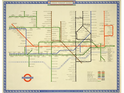 London Transport Railways Map 1948