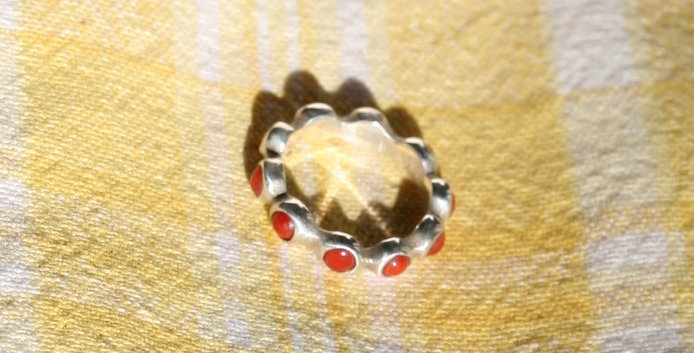 Coral Bezel Pinky Ring