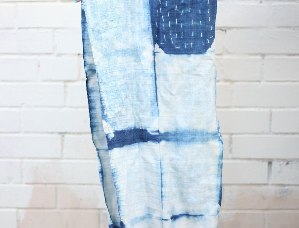 Shibori Indigo Deep Waters Palette Circle Scarf
