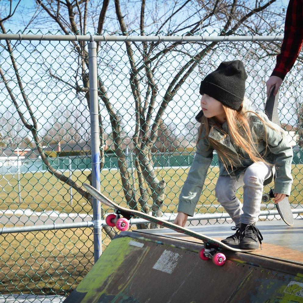 Lily-Rose, 6yr Skateboarder. Photo by Julie Goudreau.