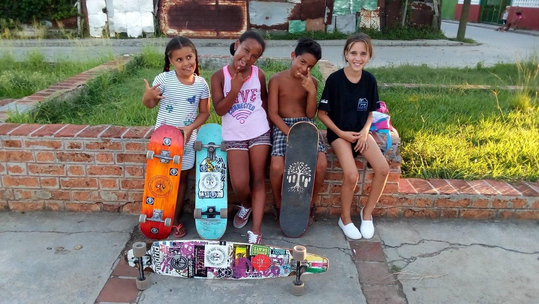 Skateboards For Hope skaters in Cuba