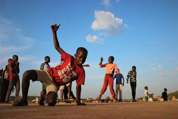 Young skateboarders in Gulu, Uganda.