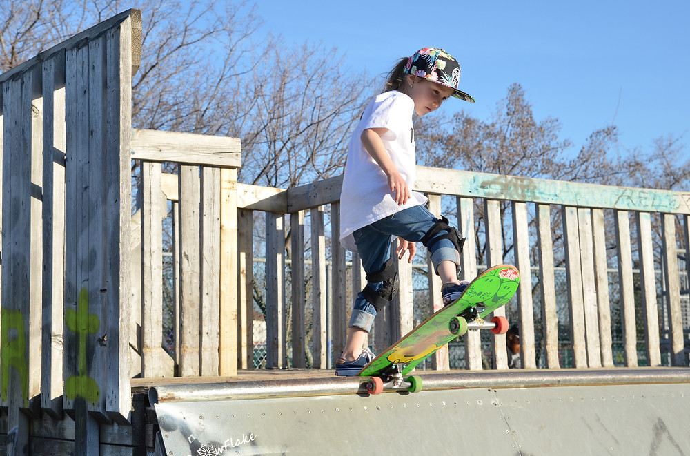 Lily-Rose, 6yr Skateboarder. Photo by Julie Goudreau