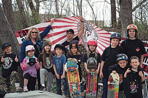 Young skateboarders outdoors.