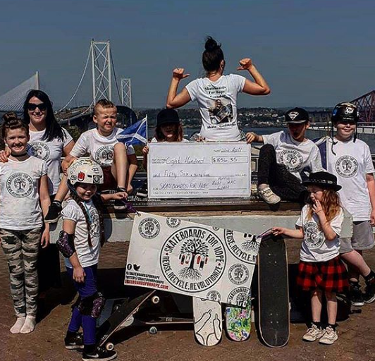 Poppie and friends raised funds for Skateboards For Hope.